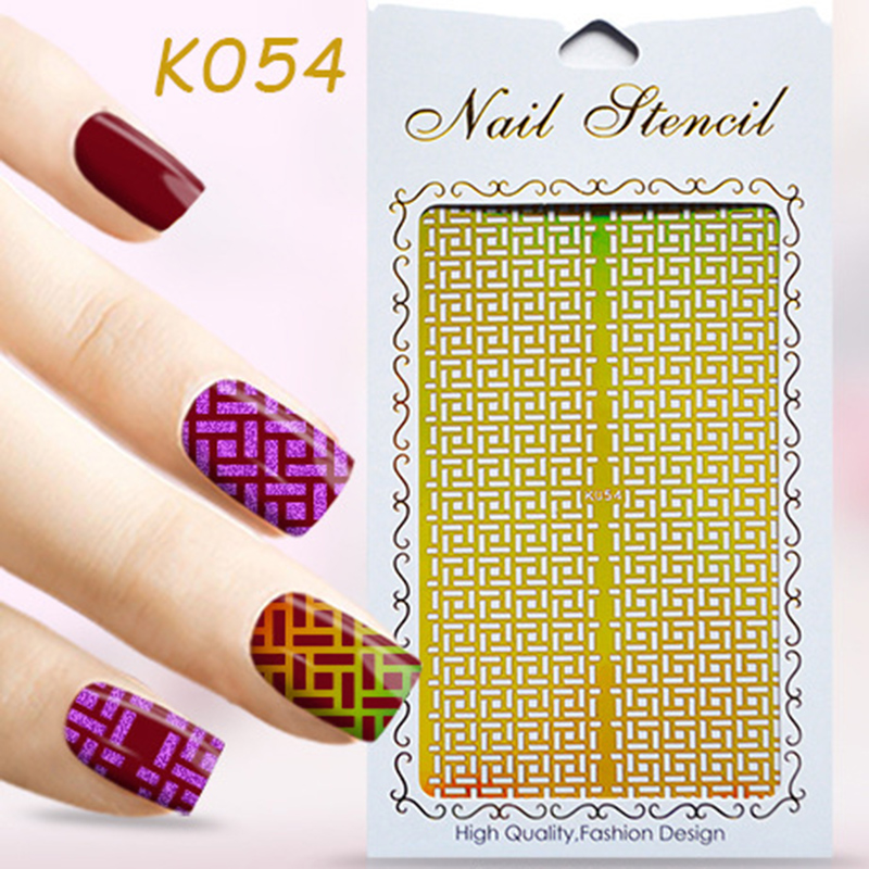 Hollow Stencil 2016 newly arrive Gold Nail Sticker Laser Nail Vinyls Image Guide beautiful high quality 1pcs Nail Art Stickers(China (Mainland))