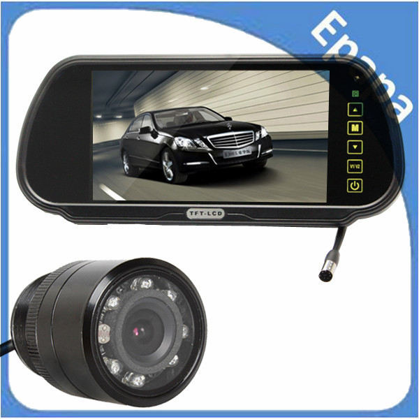7 Inch TFT Color car parking rearview mirror monitor+ car rear view reverse ir camera with 2 video input, Free Shipping<br><br>Aliexpress