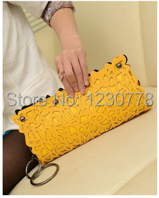 Europ women fashion hollow out day clutches 2014 summer new design pure color soft day clutches china retailer free shipping(China (Mainland))