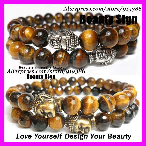 free ship 10pcs of Mens Beaded Stretch Yoga Mala Bracelet,Faceted Tiger Eye bead with Gold silver Buddha Head Bracelet<br><br>Aliexpress