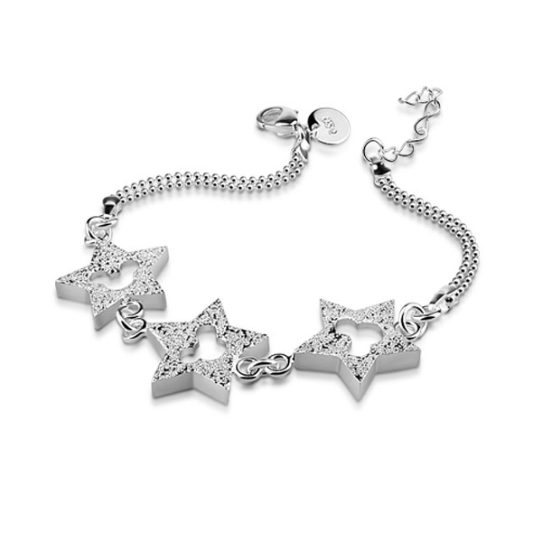New female star power sterling silver bracelets, 925 silver fashion star pendant bracelet, solid silver jewelry girl(China (Mainland))