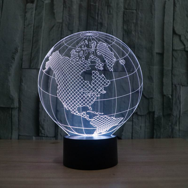 3D visual effect Europ african map shape globe shape LED night light for decoration ball atmosphere DIY night lamp(China (Mainland))