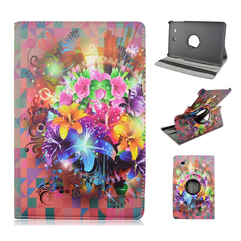 For Samsung Galaxy Tab E 9 6 T560 T561 Fashion Flowers 360 Rotatable Flip Pu Leather