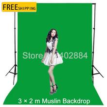 Free tax to Russia  professional Photo lighting studio Chromakey Green screen Muslin background backdrop cotton 3x2M(China (Mainland))