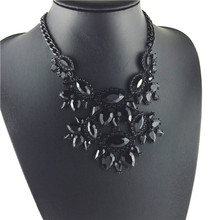 New design black crystal necklace women statement collar necklaces pendants multilayer choker fashion jewelry 2014