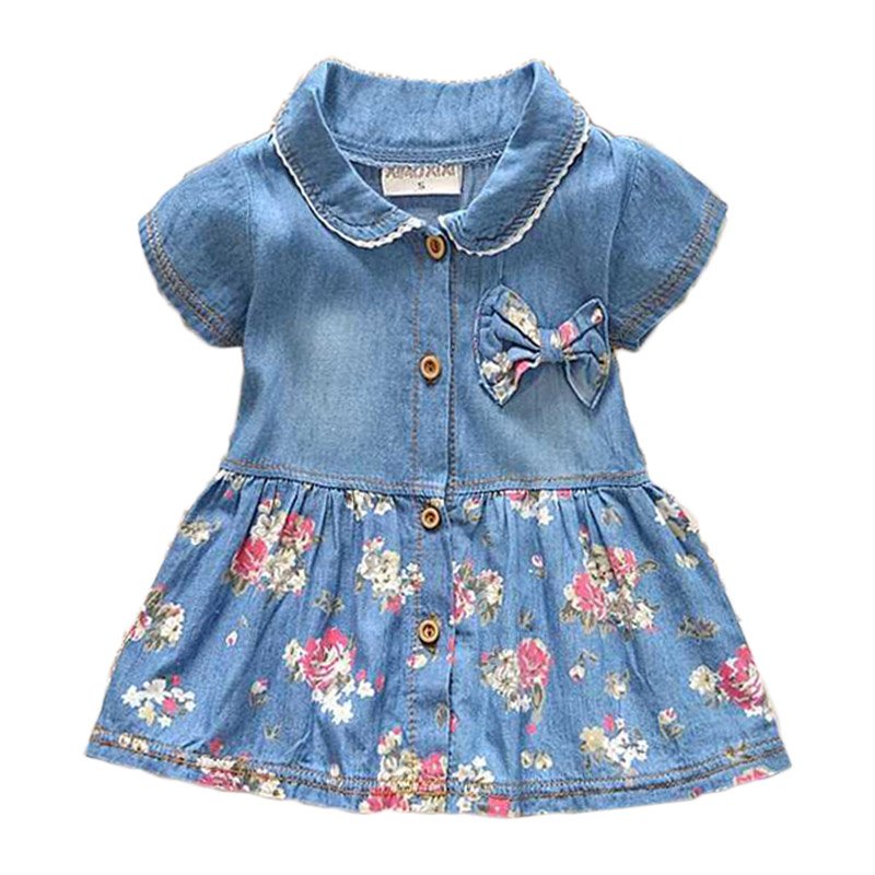 New Spring Autumn Denim Baby Girls Dress Floral Bow Infant Princess Dress Casual Short Sleeve Kids Jeans Dress Baby Girl Clothes(China (Mainland))