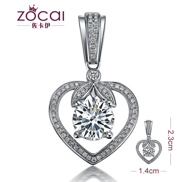 ZOCAI GUARDIAN OF LOVE 0.66 CT SI / I-J DIAMOND 18K WHITE GOLD HEART PENDANT + 925 STERLING SILVER CHAIN NECKLACE