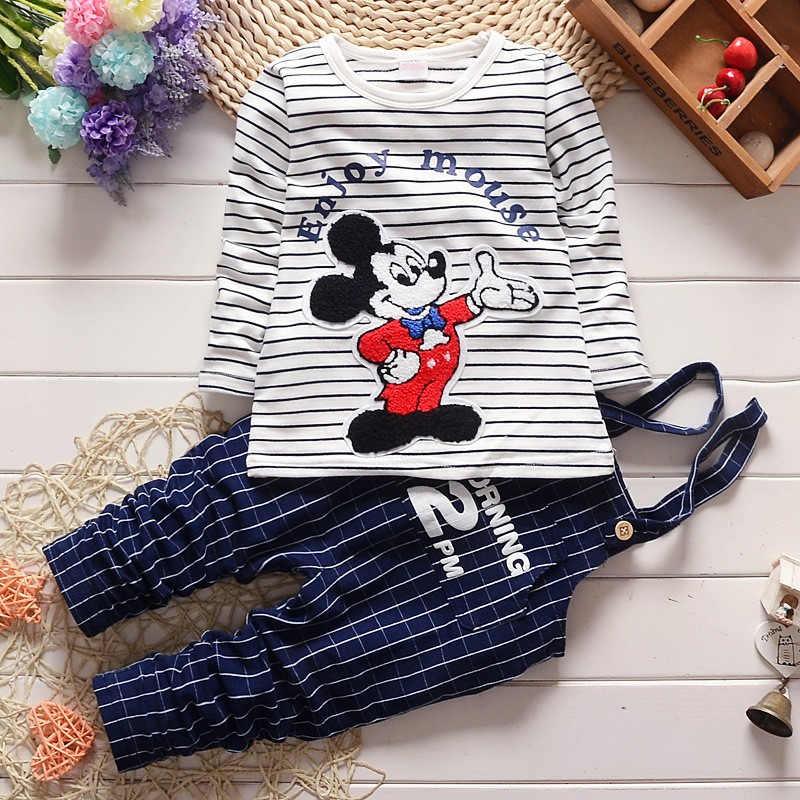 2016 children spring autumn clothing set baby boy cartoon mouse striped long-sleeved cotton overalls kid suit boys Tracksuit set(China (Mainland))