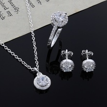 New Christmas reward noble silver development elegant women fundamental shiny crystal CZ necklace earring ring plated jewelry Set