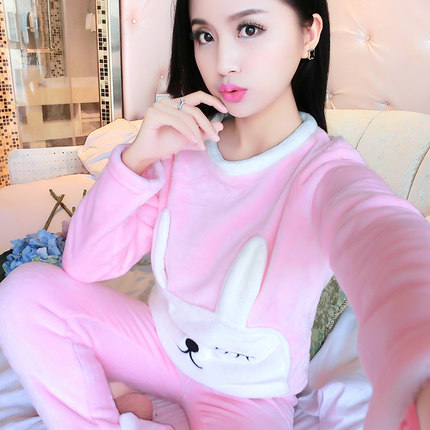 Autumn and winter cartoon thick home service sexy long sleeve two sets of pajamas pajamas women coral velvet pyjamas women