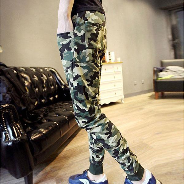 2016 Hot Men s New Arrival Camo Pants Stylish Slim Elastic Waist Trousers Navy Blue Green