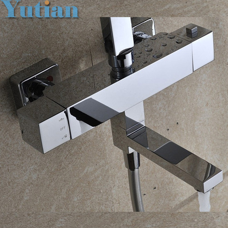 Free Shipping Wall Mounted Two Handle Thermostatic Shower faucet Thermostatic mixer , Shower Taps Chrome Finish,YT-5310(China (Mainland))