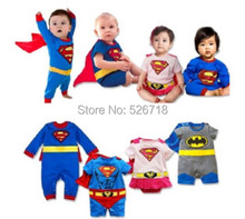 Hot! 2015 New Fashion Cartoon Cotton Kids Boys Clothes Jumpsuit Batman Baby Boy Rompers Superman Baby Gilr Romper Baby Costume(China (Mainland))