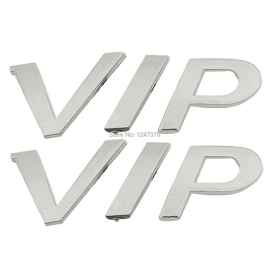 2 Pcs/lot VIP Letters Design Decor Car Badge Sticker Silver Tone styling detector Discount 50(China (Mainland))
