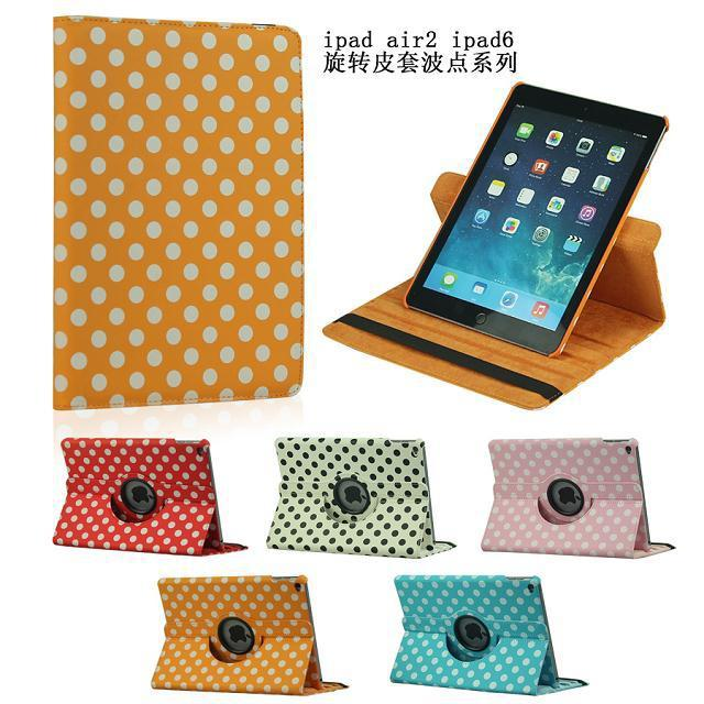 360 Rotating Polka Dots Pattern Stand Leather Case For Apple iPad 6 Air 2 Protective Cover For iPad Air 2 Tablet Accessories(China (Mainland))