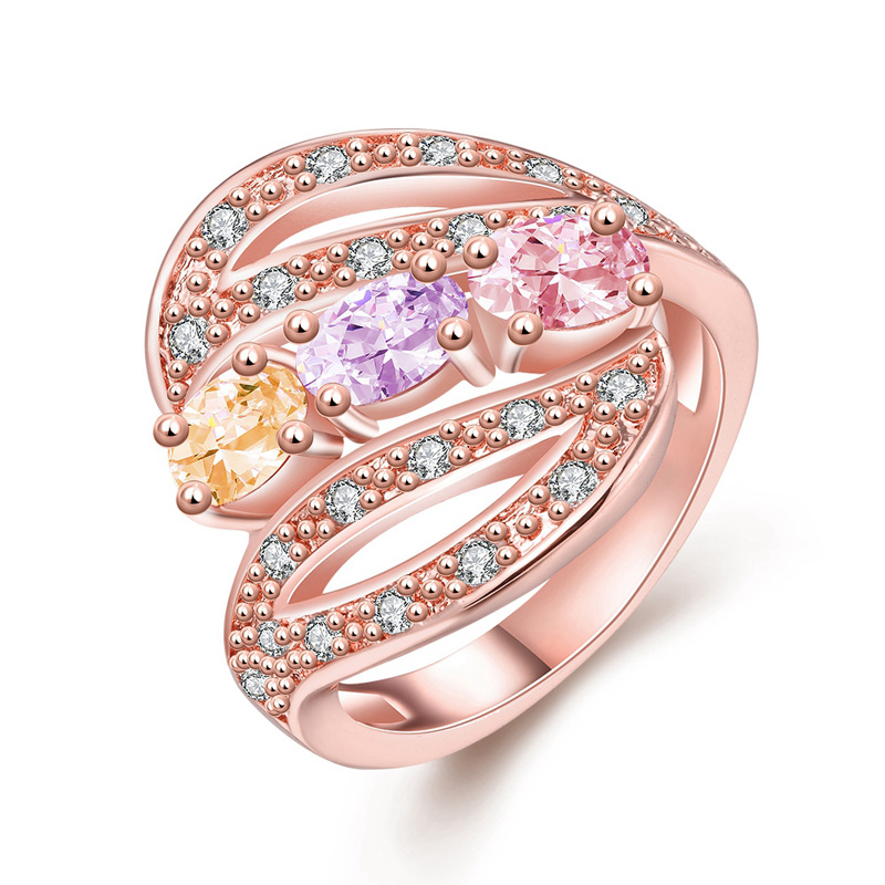 Female Luxury Engagement Ring With CZ Crystal Rose Gold Delicate Colorful Hollow Royal Wedding Finger Rings For Women Gifts(China (Mainland))