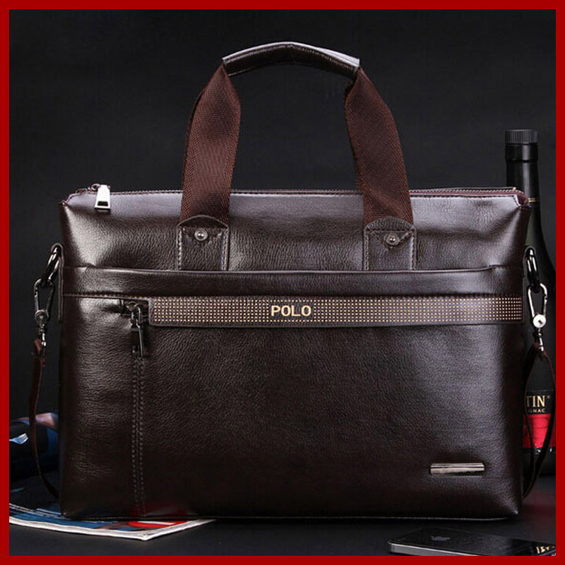 Free Shipping 2015 New Fashion Genuine Leather Bag Men Famous Brand POLO Shoulder Bag Messenger Bags Fashion Men's Travel Bags(China (Mainland))