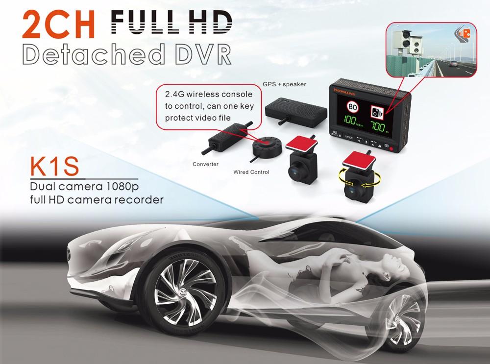 Купить Gps-модуль Koonlung Автомобиля DVR Модель K1S Dual Фотоаппараты 1080 P Super HD Автомобильный Dashcam, Посвященный GPS Замена