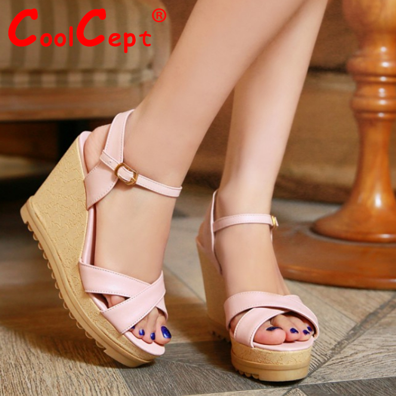 women wedge ankle strap high heel sandals sexy platform candy color lady brand heeled footwear heel shoes size 33-40 P18077