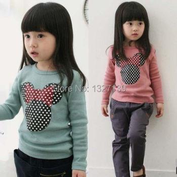 Дети малыша одежда девочки узор в горошек длинный рукав свободного покроя T рубашка блузка топы
