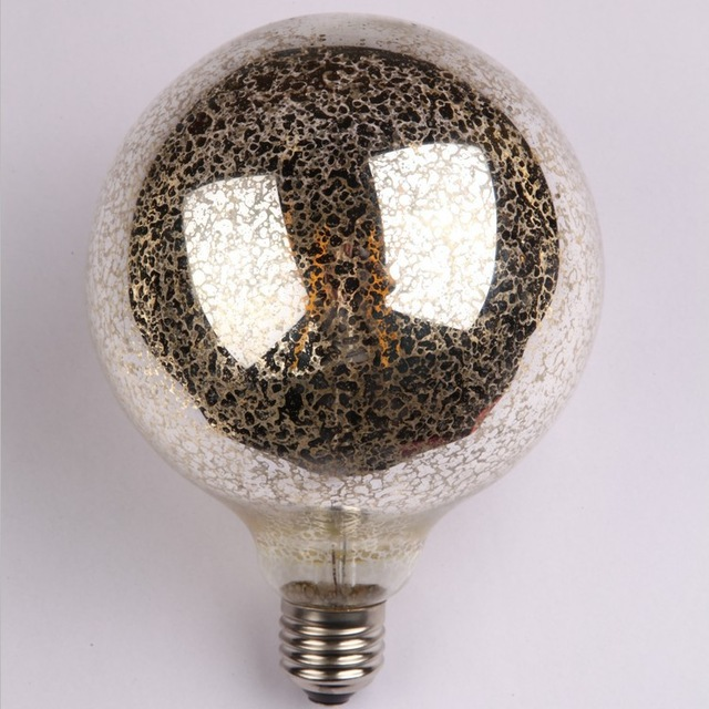 2016 new Edison LED filament bulb G40 G125 120v 4W 6W E26 E27 base retro pearl round bubble bright silver light free shipping(China (Mainland))