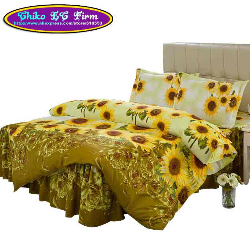 Luxury Home Textile Sunflower Design 3/Ruffled Bedding Set Quilt Cover Pillowcases Twin Full Queen Bed Skirt CQT-018 - MISS ANNES store