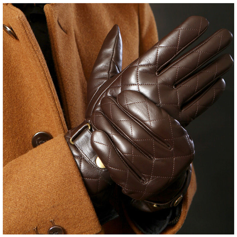 Deluxe Men Winter Gloves Genuine Leather Gloves Men Brown Black Berber Fleece Lined Sheep Skin Leather Gloves(China (Mainland))