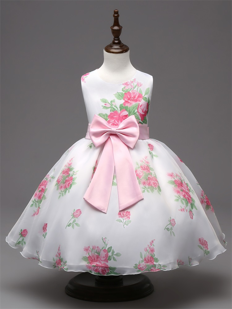 3-8Y Flower Print Girl Christening Wedding Party Pageant Dress Baby First Communion Toddler Gowns Little Girl Bridesmaid Clothes(China (Mainland))