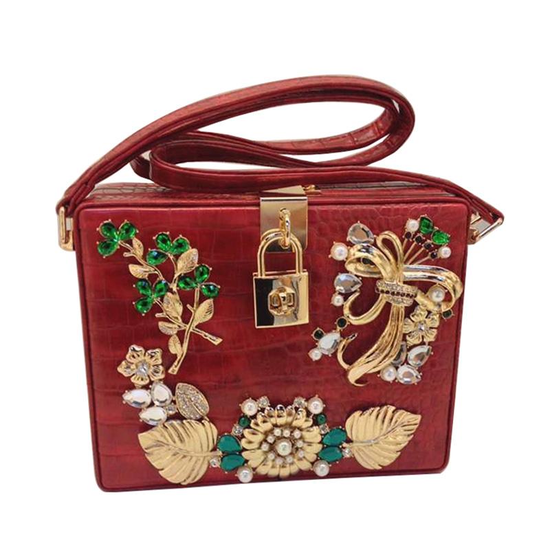 Designer Padlock Top-Handle Handbags Pu Leather Gemstone Flower Beaded Box Evening Clutch Flap Shoulder Cross Body Bag XA1288A(China (Mainland))