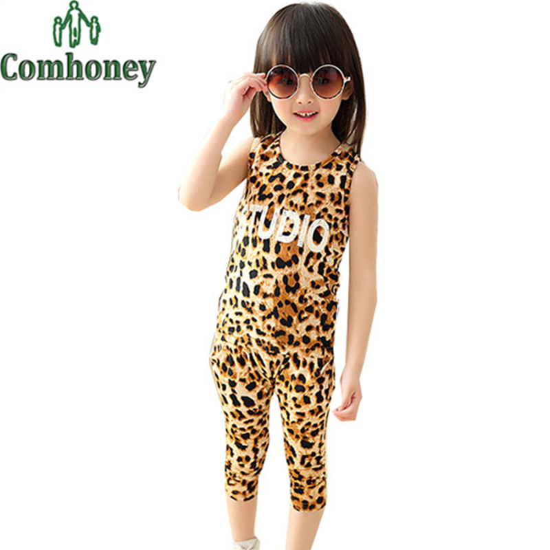Girls Sport Suit Summer Leopard Kids Tracksuit Twin Baby Set Cheap Boys Clothes Letter Print T-shirt Children Sport Clothing Set(China (Mainland))