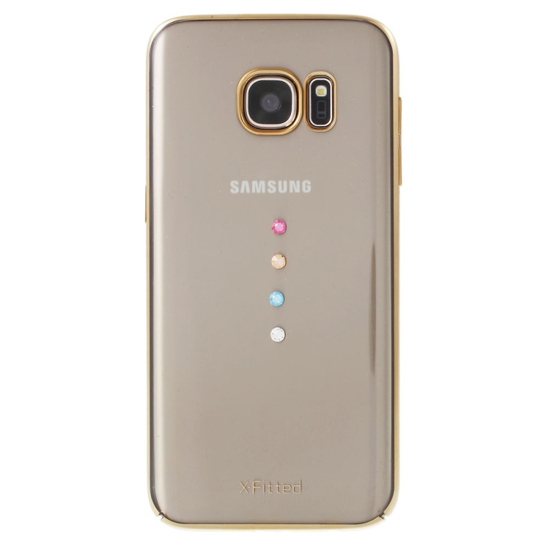 S7 Mobile Phone Bag X-FITTED Swarovski Rhinestone Plating Hard PC Cover for Samsung Galaxy S7 G930 Phone Cases - Gold(China (Mainland))