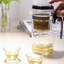 Hot sale 500ml Straight Glass Tea Cup Teapot kettle With Filter Gongfu Tea Maker Press Art Cup Washable Convenient Office(China (Mainland))