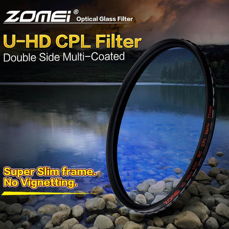 Zomei 55mm Ultra Slim HD 18 Layer Coating MC CPL Pro Schott Glass Polarizing Polarizer Filter for Canon Nikon Sony Pentax lens(China (Mainland))