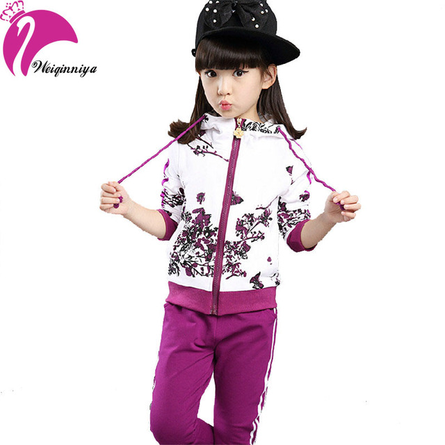 Новый бренд 2016 девочки комплект хлопковые весна осень мода Foral печать спортивные ...