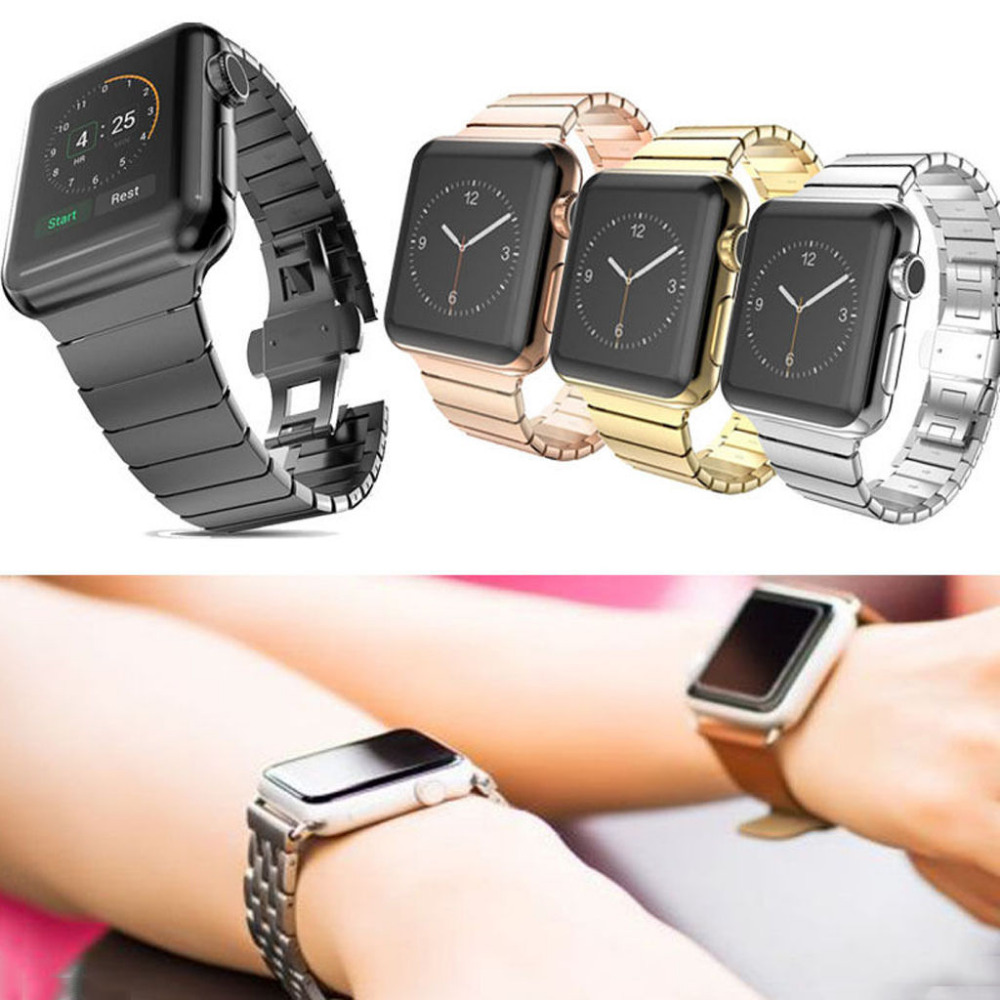 New Link Bracelet for Apple Watch Band Stainless Steel Band with 1:1 Original Butterfly Clasp Watchband for Apple 38mm /42mm<br><br>Aliexpress