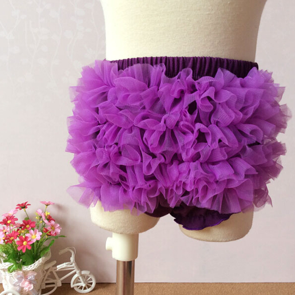 Baby Shorts Cotton Bloomers Lace Shorts Girls Ruffled Panties Underwear Kids Photography Props Purple Free Shipping(China (Mainland))