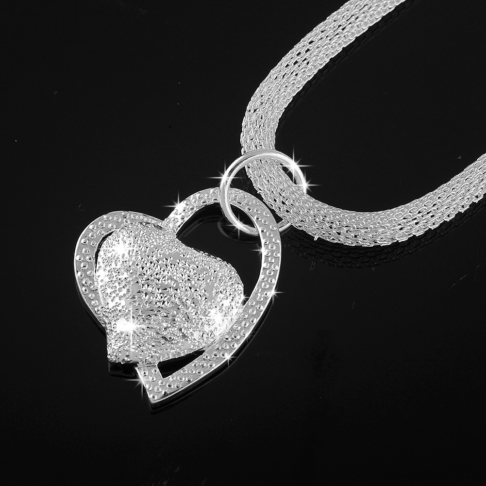 New Fashion 925 Sterling Silver Double Heart Pendant Chunky Necklace Charm Chain Bib Women Girls Lady Gift Hot(China (Mainland))
