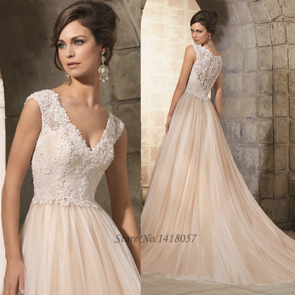 Buy cheap champagne pink boho wedding for Discount lace wedding dresses