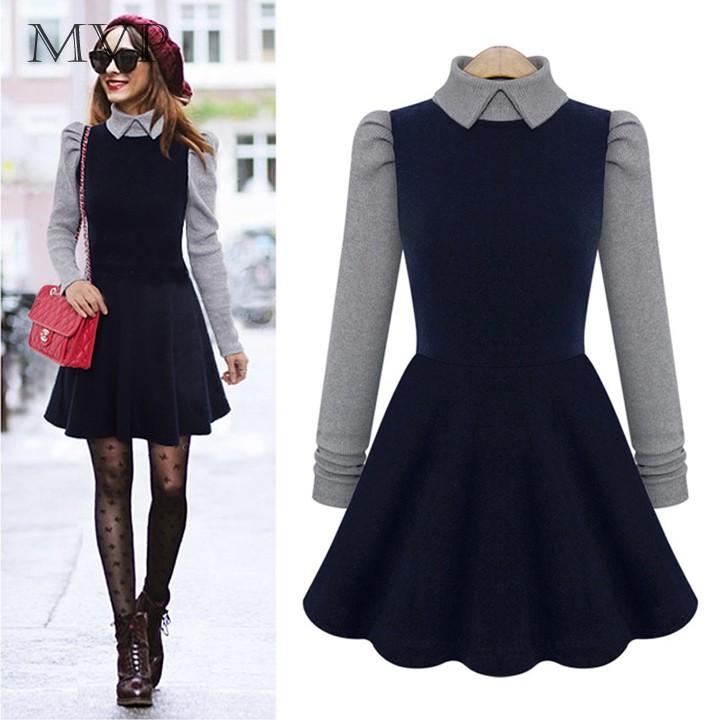 Women Winter Wool Dress Splicing Patchwork Long Sleeve Turn Down Collar Dress Vestido Casual Ladies Dress Office 12(China (Mainland))