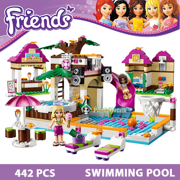 Building Blocks Set  Compatible with lego Friends 442 Pcs 2 Toy Figures DIY Swimming Pool Brinquedos Bricks Toys for Girls(China (Mainland))