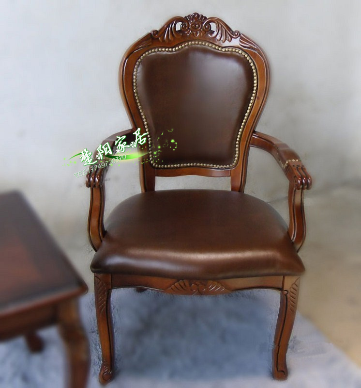 American carved wood back chairs / neoclassical leather book style side chair / quality luxury high-end fashion computer chair(China (Mainland))
