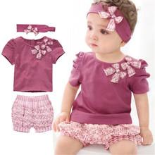 Los niños de los cabritos de la manga corta establece juegos del bebé de la moda actual impresiones de algodón ocasional suave del bowknot caramelo 0-2 años 3 unidades(China (Mainland))