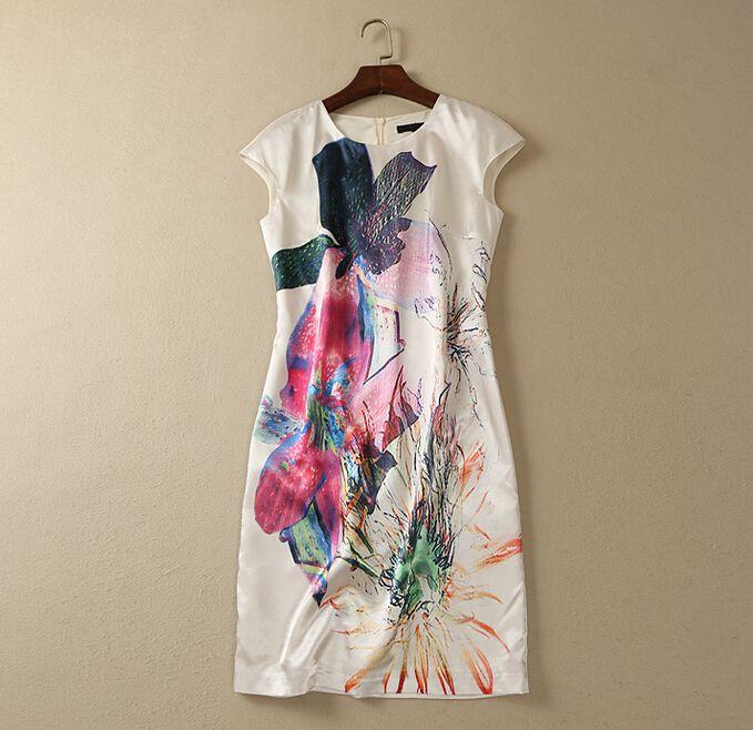 S-XXL 2015 high quality new summer fashion runway brand Grace Elegant abstract big flower print one piece dress women W0960(China (Mainland))