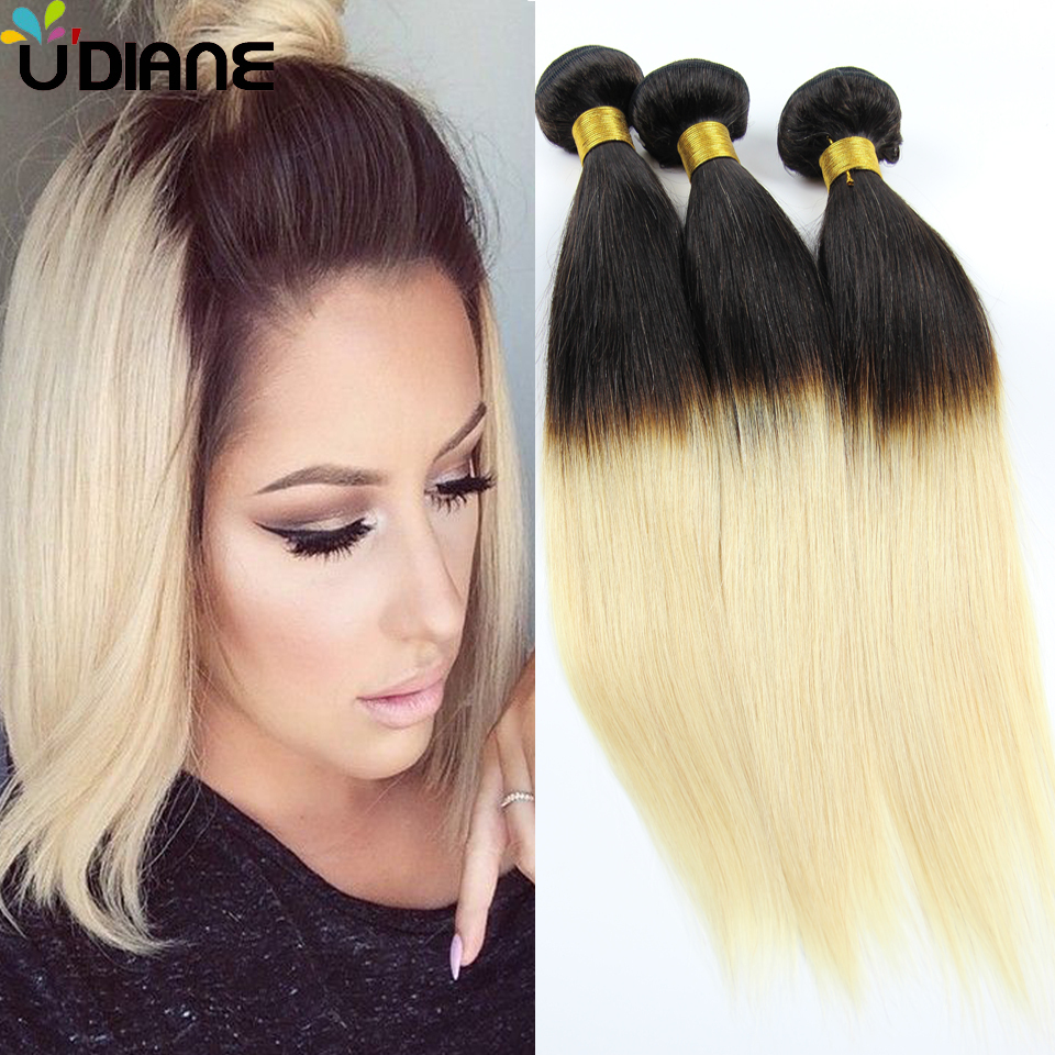 Ombre Malaysian Virgin Hair 3PCS Ombre Straight Human Hair Bundles Two Tone Colored 1B/613 Ombre Hair Weave 10-30 Mixed 6SC31