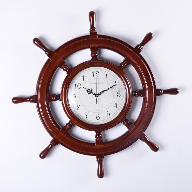 Big beautiful mute quartz wall clock solid wood rudder bell