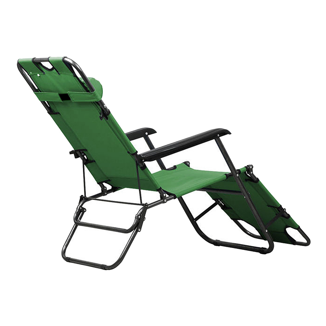 Metal Folding Chaise Lounge Chair Patio Outdoor Pool Beach Lawn Recliner  New Color:Army green size:178cm(70inch) - Beach Chaise Lounge Chairs Promotion-Shop For Promotional Beach