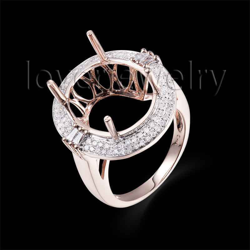 Solid 14Kt Rose Gold Natural Diamond Setting Ring,Big Semi Mount Ring Oval 12X15mm For Sale BAB1435<br><br>Aliexpress