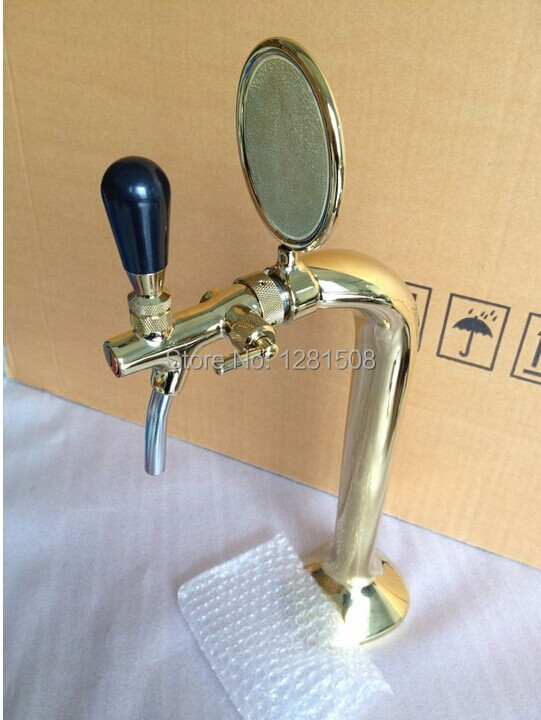 New One tap Cobra design beer tower golden brass material PVD plated beer tower with cooling lines fro homebrew(China (Mainland))