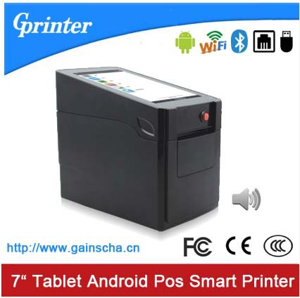 """WiFi Bluetooth Mini Android POS tablet thermal printer with 7"""" touch screen speaker voice broadcast 1D QR barcode(China (Mainland))"""