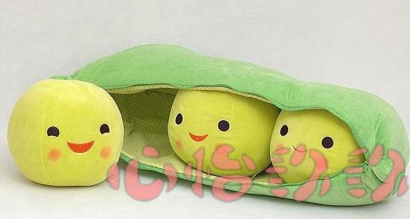 stuffed plush 35 cm plush toy cute 3 peas in a pod pea toy doll w796(China (Mainland))